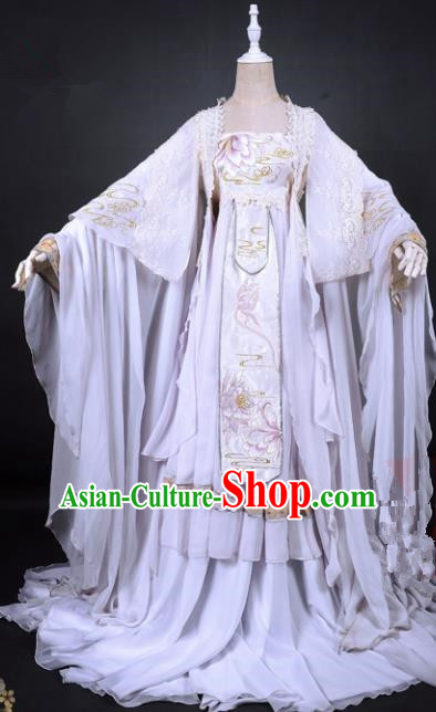 Chinese Traditional Cosplay Princess Costume Ancient Swordswoman White Hanfu Dress for Women