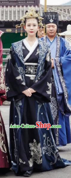 Chinese Ancient Drama Hanfu Dress Sui Dynasty Imperial Empress Embroidered Historical Costume and Headpiece Complete Set