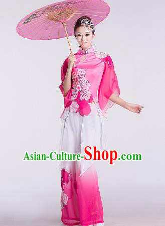 Chinese Traditional Umbrella Dance Rosy Costume Folk Dance Stage Performance Clothing for Women