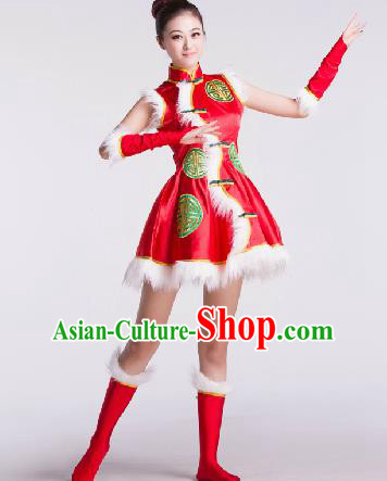Chinese Traditional Drum Dance Red Costume Folk Dance Stage Performance Clothing for Women