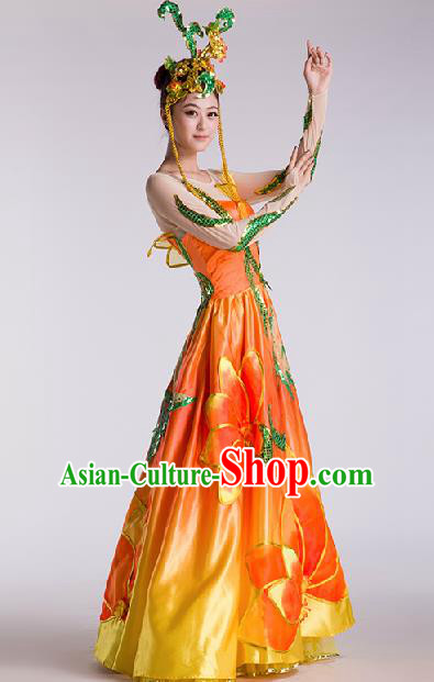Chinese Traditional Classical Dance Orange Dress Folk Dance Stage Performance Clothing for Women