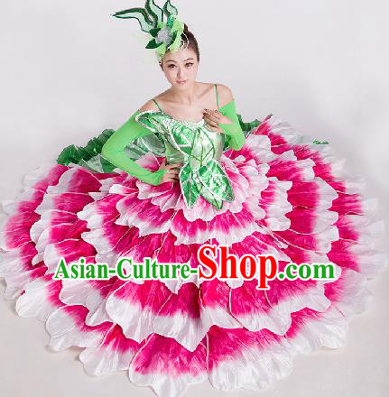 Top Grade Chorus Opening Dance Peony Dance Rosy Dress Modern Dance Stage Performance Costume for Women