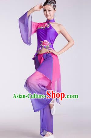 Chinese Traditional Fan Dance Purple Dress Folk Dance Stage Performance Clothing for Women