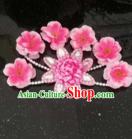 Chinese Traditional Classical Dance Hair Accessories Folk Dance Pink Flowers Hair Stick for Women