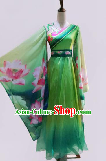 Chinese Traditional Classical Dance Costume Umbrella Dance Stage Performance Printing Lotus Green Dress for Women