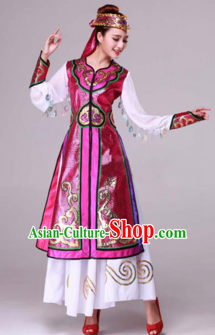 Chinese Traditional Ethnic Dance Costume Mongolian Nationality Stage Performance Rosy Dress for Women