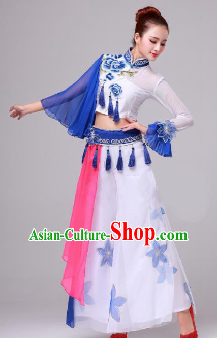 Chinese Traditional Folk Dance Costume Fan Dance Stage Performance Clothing for Women