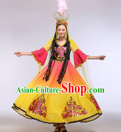 Chinese Traditional Ethnic Dance Costume Uyghur Nationality Stage Performance Yellow Dress for Women