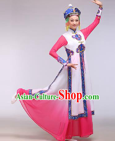 Chinese Traditional Ethnic Dance Costume Mongolian Nationality Dance Stage Performance Pink Dress for Women