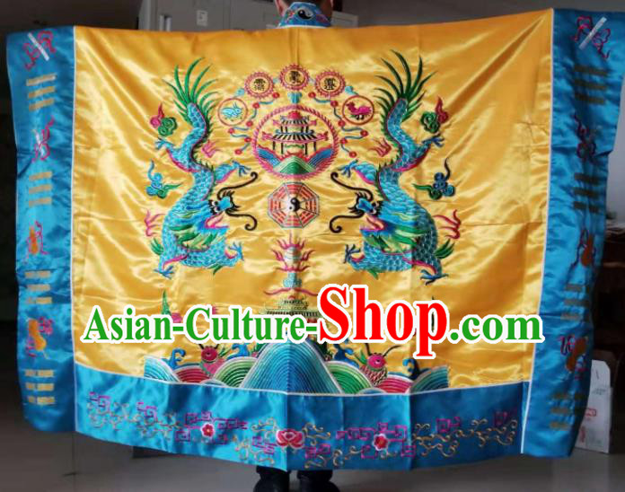 Chinese Traditional Taoism Costume National Taoist Priest Embroidered Dragon Cassock for Men