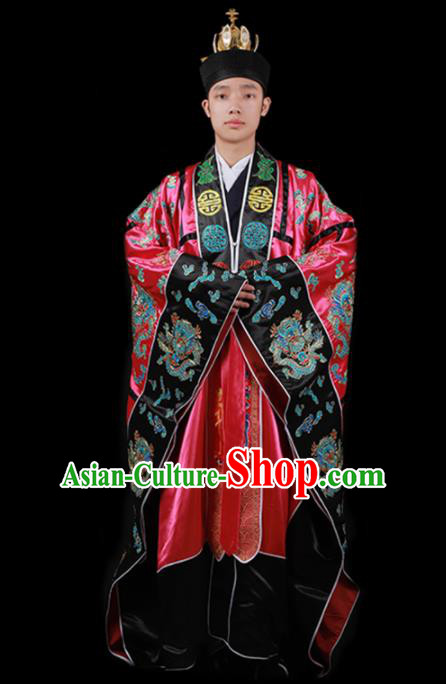 Chinese Traditional Taoism Costume National Taoist Priest Embroidered Dragons Rosy Cassock for Men