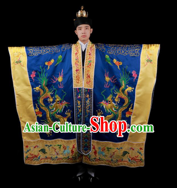 Chinese National Taoist Priest Embroidered Dragons Navy Blue Cassock Traditional Taoism Costume for Men