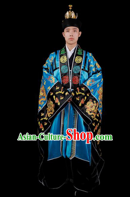 Chinese National Taoist Priest Embroidered Dragons Blue Cassock Traditional Taoism Costume for Men