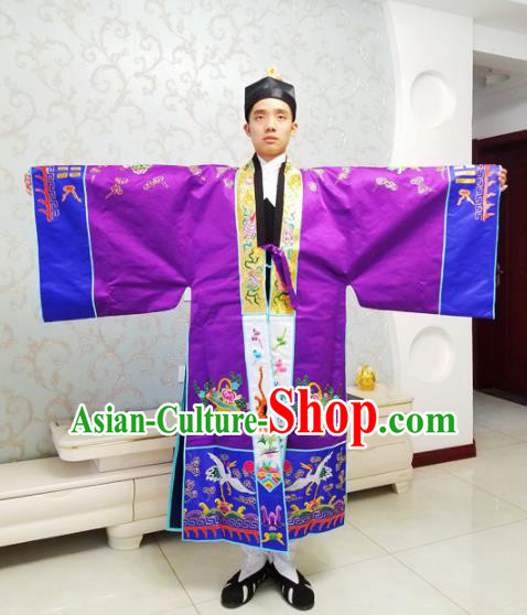 Chinese National Taoism Embroidered Dragons Purple Cassock Traditional Taoist Priest Rites Costume for Men
