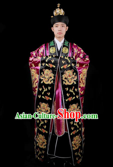 Chinese National Taoism Embroidered Dragons Rosy Cassock Traditional Taoist Priest Rites Costume for Men