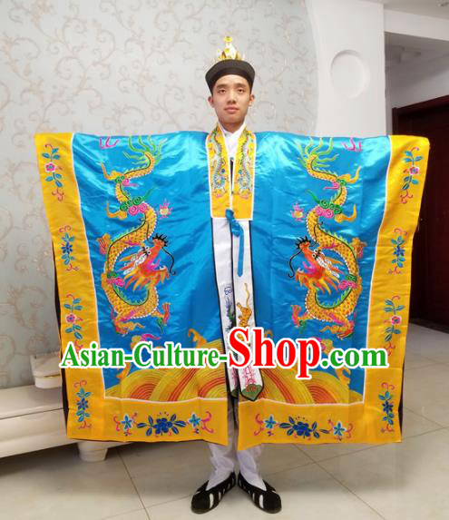 Chinese National Taoism Embroidered Dragons Blue Cassock Traditional Taoist Priest Rites Costume for Men