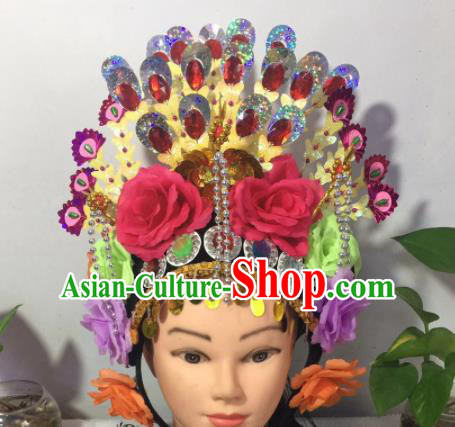 Chinese Traditional Beijing Opera Peri Phoenix Coronet Headwear Peking Opera Diva Hair Accessories for Kids