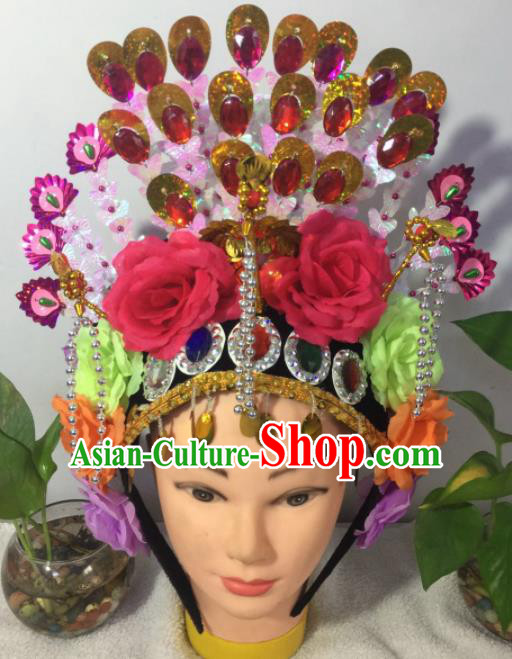 Chinese Traditional Beijing Opera Peri Rosy Peony Phoenix Coronet Headwear Peking Opera Diva Hair Accessories for Kids