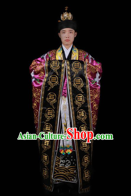 Chinese National Taoism Embroidered Cranes Rosy Cassock Traditional Taoist Priest Rites Costume for Men