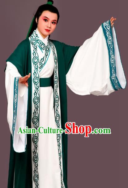 Chinese Traditional Peking Opera Nobility Childe Green Embroidered Robe Beijing Opera Niche Costume for Men