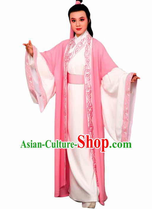 Chinese Traditional Peking Opera Nobility Childe Pink Embroidered Robe Beijing Opera Niche Costume for Men