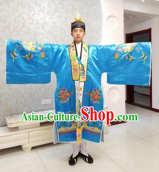 Chinese National Taoism Embroidered Blue Cassock Traditional Taoist Priest Rites Costume for Men