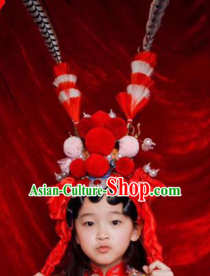 Chinese Traditional Beijing Opera Red Phoenix Coronet Headwear Peking Opera Diva Hair Accessories for Kids