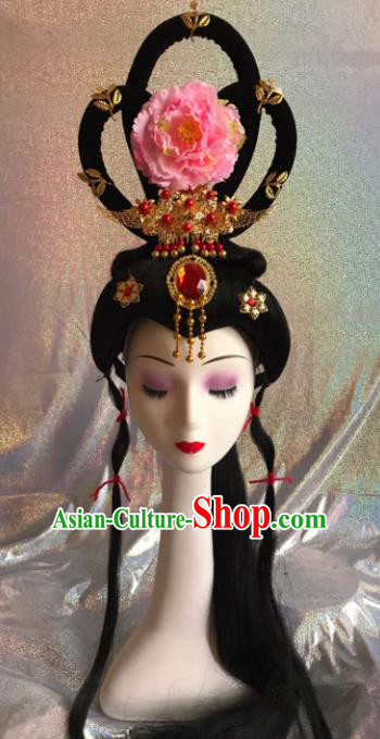 Chinese Traditional Beijing Opera Princess Wigs and Pink Peony Hairpins Peking Opera Diva Hair Accessories for Women