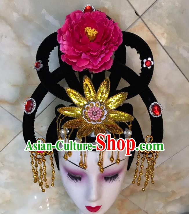Chinese Traditional Beijing Opera Peri Wigs and Rosy Peony Hairpins Peking Opera Princess Hair Accessories for Women