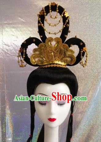 Chinese Traditional Beijing Opera Queen Hairpins and Wigs Sheath Peking Opera Peri Hair Accessories for Women
