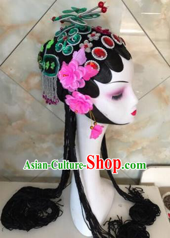 Chinese Traditional Beijing Opera Green Butterfly Hairpins and Wigs Sheath Peking Opera Princess Hair Accessories for Women