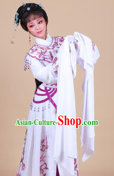 Chinese Traditional Shaoxing Opera Peri Purple Embroidered Dress Beijing Opera Hua Dan Costume for Women