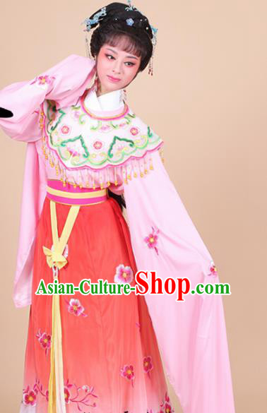 Chinese Traditional Shaoxing Opera Peri Princess Red Embroidered Dress Beijing Opera Hua Dan Costume for Women