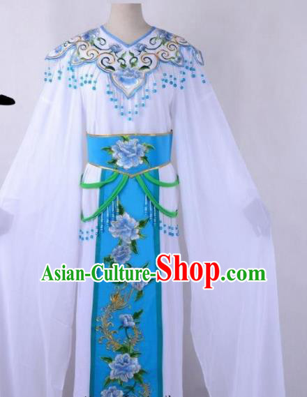 Chinese Traditional Shaoxing Opera Peri Embroidered Blue Peony Dress Beijing Opera Hua Dan Costume for Women