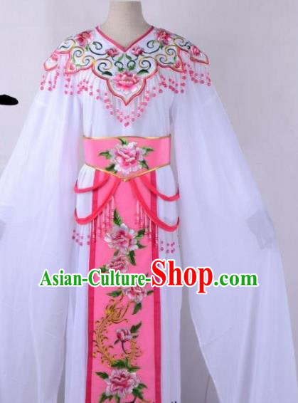 Chinese Traditional Shaoxing Opera Peri Embroidered Pink Peony Dress Beijing Opera Hua Dan Costume for Women