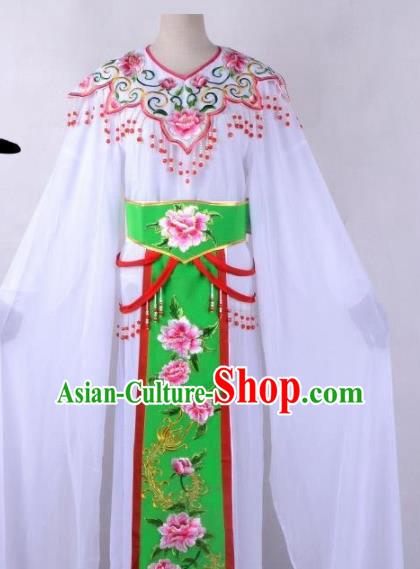 Chinese Traditional Shaoxing Opera Peri Embroidered Green Peony Dress Beijing Opera Hua Dan Costume for Women