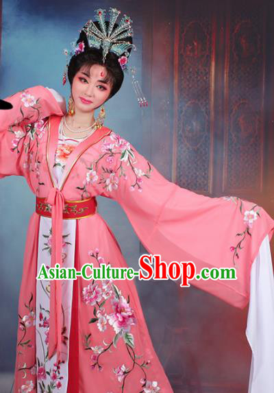 Chinese Traditional Shaoxing Opera Imperial Consort Embroidered Rosy Dress Beijing Opera Hua Dan Costume for Women