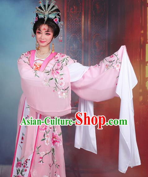 Chinese Traditional Shaoxing Opera Imperial Consort Embroidered Pink Dress Beijing Opera Hua Dan Costume for Women