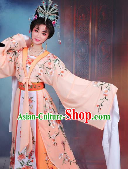 Chinese Traditional Shaoxing Opera Imperial Consort Embroidered Orange Dress Beijing Opera Hua Dan Costume for Women