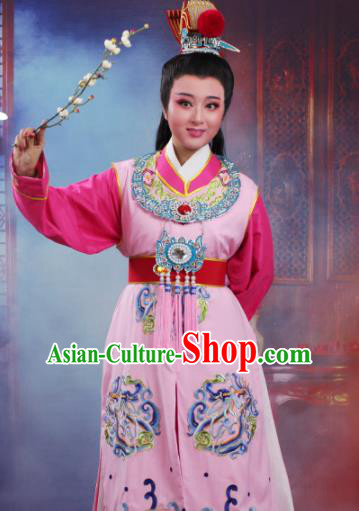 Chinese Traditional Peking Opera Crown Prince Embroidered Pink Robe Beijing Opera Niche Costume for Men
