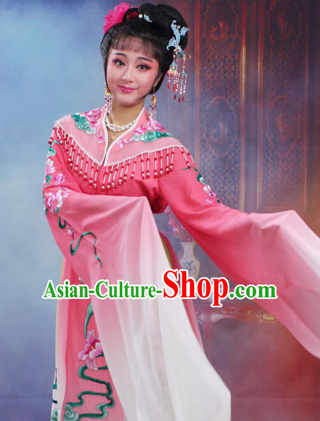 Chinese Traditional Huangmei Opera Peri Embroidered Pink Dress Beijing Opera Hua Dan Costume for Women