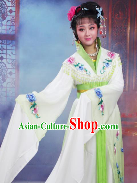 Chinese Traditional Huangmei Opera Nobility Lady Embroidered Green Dress Beijing Opera Hua Dan Costume for Women