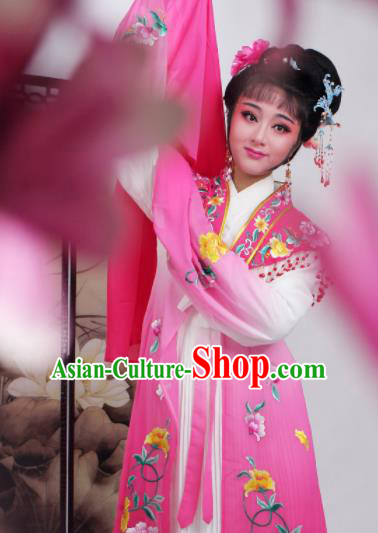 Chinese Traditional Huangmei Opera Embroidered Pink Dress Beijing Opera Hua Dan Costume for Women