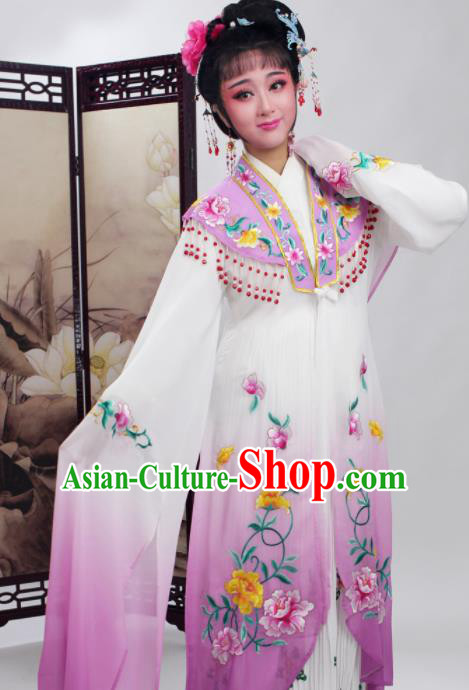 Chinese Traditional Huangmei Opera Embroidered Purple Dress Beijing Opera Hua Dan Costume for Women