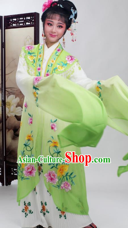 Chinese Traditional Huangmei Opera Embroidered Green Dress Beijing Opera Hua Dan Costume for Women