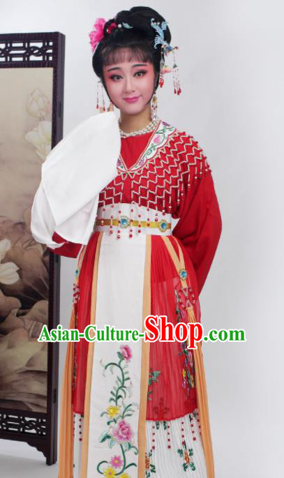 Chinese Traditional Huangmei Opera Princess Red Dress Beijing Opera Hua Dan Costume for Women