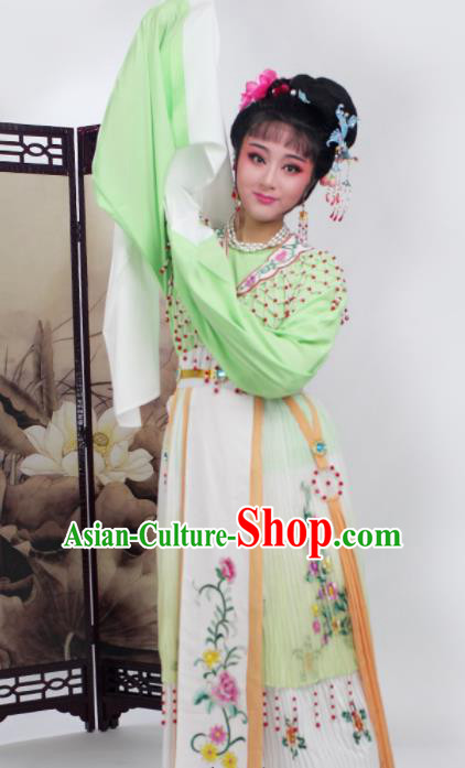 Chinese Traditional Huangmei Opera Princess Green Dress Beijing Opera Hua Dan Costume for Women