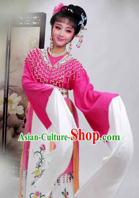 Chinese Traditional Huangmei Opera Princess Rosy Dress Beijing Opera Hua Dan Costume for Women