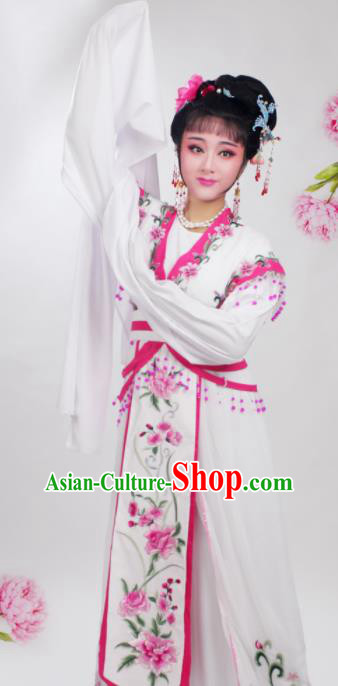 Chinese Traditional Huangmei Opera Embroidered Rosy Peony Dress Beijing Opera Hua Dan Costume for Women