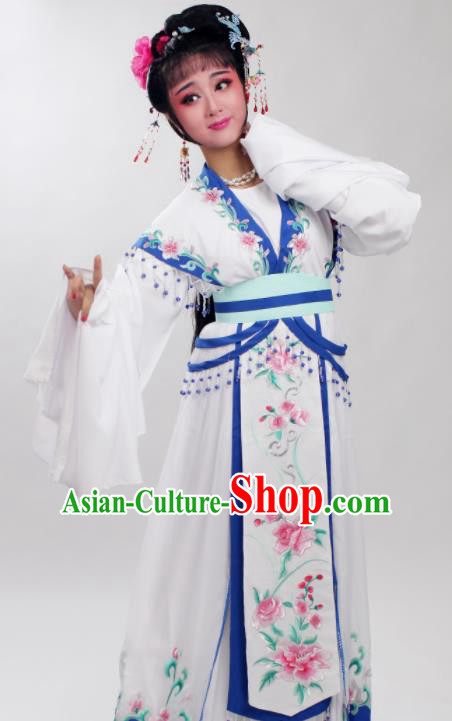 Chinese Traditional Huangmei Opera Embroidered Blue Peony Dress Beijing Opera Hua Dan Costume for Women